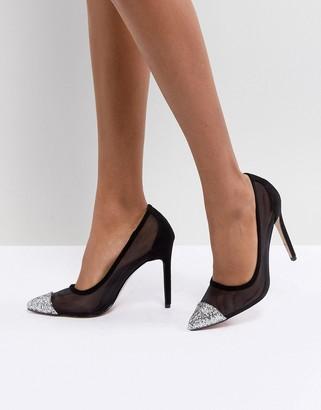 Public Desire Chelsea Black Glitter Toe Pumps