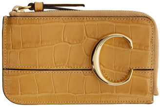 Chloé Yellow Croc C Card Holder