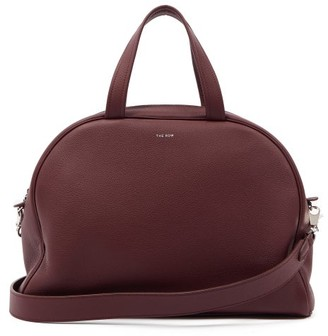The Row Grained-leather Bowling Bag - Burgundy