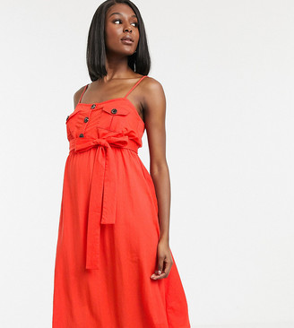 Asos DESIGN Maternity Exclusive belted button through midi sundress