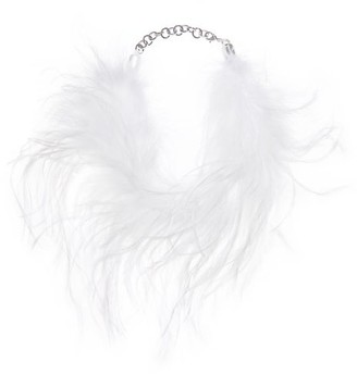 Alessandra Rich Marabou-feather Choker - White