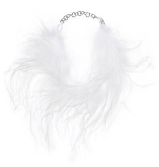 Alessandra Rich Marabou-feather Choker - Womens - White