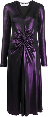 Rotate by Birger Christensen Gathered Front Metallic Maxi Dress