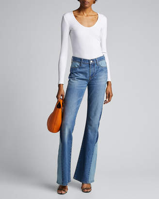 Frame Le High Flare Diagonal Block Jeans