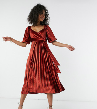 Asos Tall ASOS DESIGN Tall puff sleeve velvet wrap pleat midi dress in rust