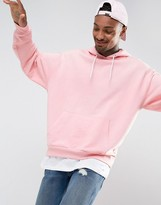 Asos Oversized Hoodie In Pink With T-Shirt Hem
