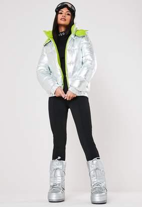 Missguided Msgd Ski Silver Metallic Padded Jacket