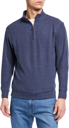 Peter Millar Men's Quarter-Zip Melange Tri-Blend Fleece Sweater