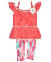 Nannette 2-Pc. Lace Top and Capri Leggings Set, Toddler and Little Girls (2T-6X)