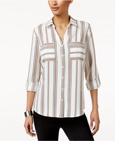 NY Collection Striped Utility Shirt