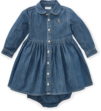 Ralph Lauren Shirred Denim Shirtdress