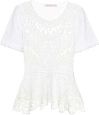 Tory Burch Lace-paneled cotton T-shirt