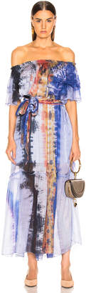 Raquel Allegra Ruffle Maxi Dress in Waterfall Tie Dye | FWRD