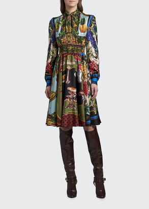 Dolce & Gabbana Fruit and Funghi Print Silk Fit-&-Flare Dress