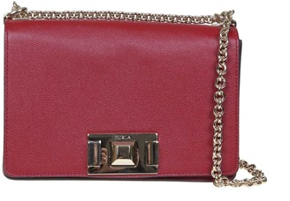 Furla Mimi s Shoulder Strap In Cherry Color Leather