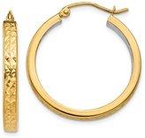 jewelryPot 14k Yellow Gold & Rhodium Light Square Diamond Cut Hoop Earrings. 25mm Diameter.