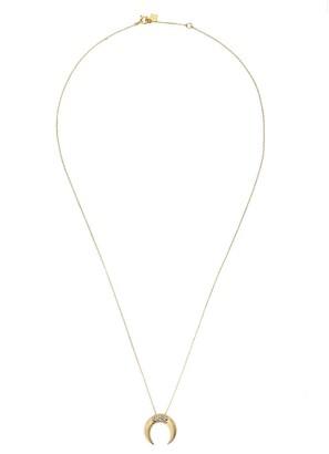 Feidt Paris 9kt yellow gold Corne Lune sapphire crescent moon pendant necklace