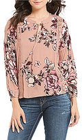 Blu Pepper Floral Printed Long Sleeve Peasant Top