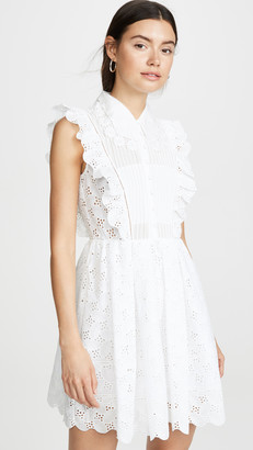 Self-Portrait Leaf Broderie Anglaise Mini Dress