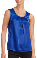 Kasper Suits Pleat-Neck Sateen Blouse