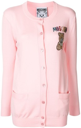 Moschino embroidered beaded Teddy Bear cardigan