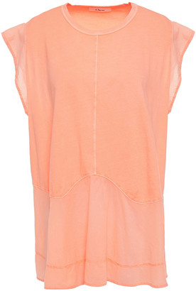 Clu Voile-paneled Slub Cotton-jersey Top