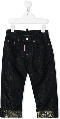 DSQUARED2 Metallized Straight-Leg Jeans