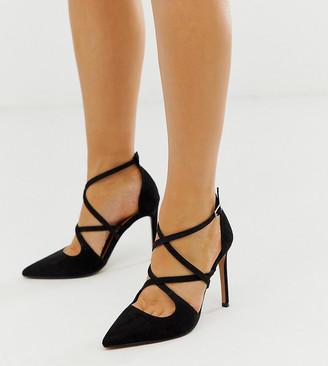 Asos Design DESIGN Wide Fit Wren pointed high heels in black