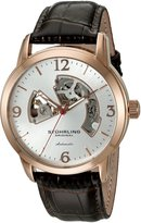 Stuhrling Original Men's Legacy Automatic Skeleton 1074.3345K2 Stainless Steel and Brown Leather Dress Watch