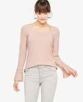 Ann Taylor Square Neck Slit Cuff Top