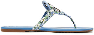 Tory Burch Laser-cut Floral-print Leather Flip Flops