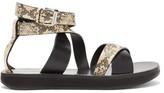 Isabel Marant Nasha Python-embossed Leather Sandals - Womens - Light Pink