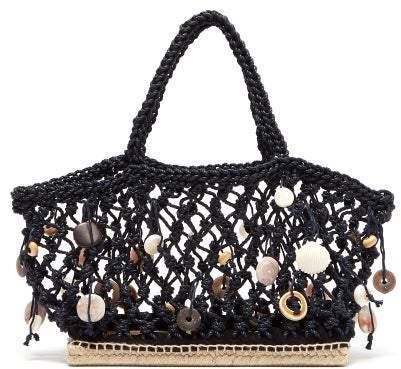 Altuzarra Espadrille Small Shell Charm Macrame Tote Bag - Womens - Navy Multi
