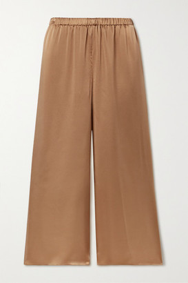 Theory Cropped Washed Silk-satin Wide-leg Pants - Camel