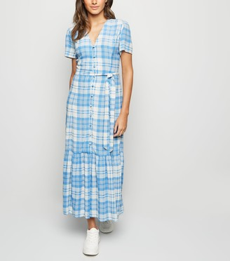 New Look Check Button Front Tiered Maxi Dress