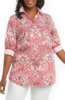 Foxcroft Faith Batik Floral Top