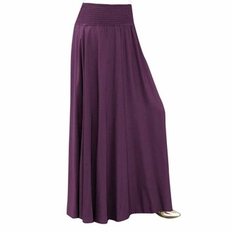 MRULIC Spring Elegant Women Fashion Elastic Waist Solid Skirt Vintage A-line Loose Long Skirts Pleated Dress(Black M)