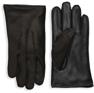 UGG Wrangle Leather Faux Fur-Lined Touchscreen Gloves