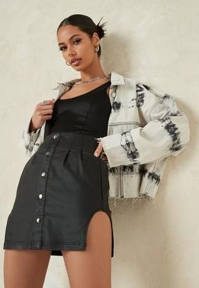 Missguided Coated Side Curve Denim Mini Skirt