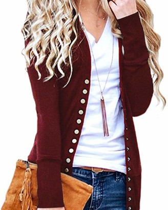 CNFIO Women Long Sleeve Cardigans Lightweight Open Front Knit Sweater Cardigan D-Wine red 2X-Large/UK 18