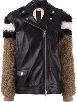 No.21 fur sleeves leather jacket
