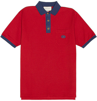 Gucci Short Sleeve Polo in Live Red & Ink | FWRD