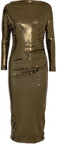 Vivienne Westwood Draped Metallic Printed Midi Dress - Gold