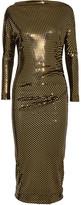 Vivienne Westwood Draped Metallic Printed Midi Dress - Gold