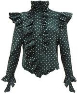 Vetements Ruffled-trim Polka-dot High-neck Blouse - Womens - Green Multi
