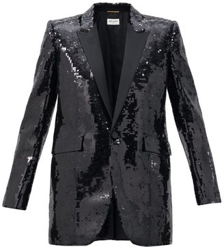 Saint Laurent Sequinned Wool Tuxedo Jacket - Black