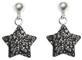 Gray Austrian Crystal & Sterling Silver Pavé Star Drop Earrings