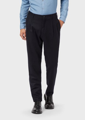 Giorgio Armani Pleated Wool Flannel Trousers