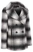 Black Rivet Womens Wool-Blend Peacoat W/ Faux-Leather Trim