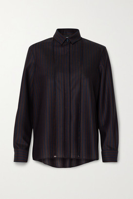 Akris Striped Stretch-wool Shirt - Midnight blue